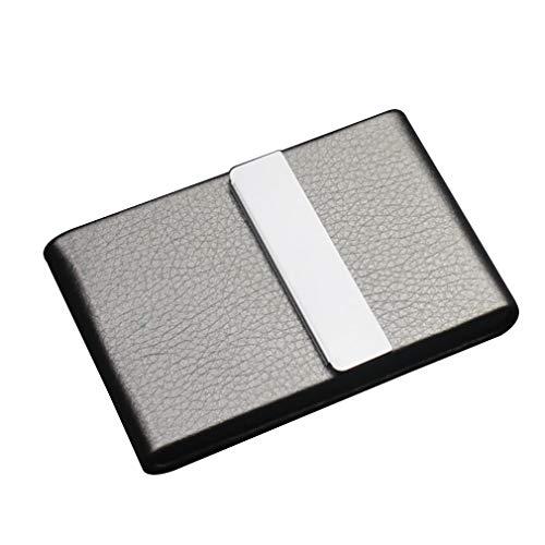 QJIAXING Herren Zigaretten Gehäuse Edelstahl Leder Furnier 7 Normale Zigaretten Flip-Cover Zigarettenhalter,Gray