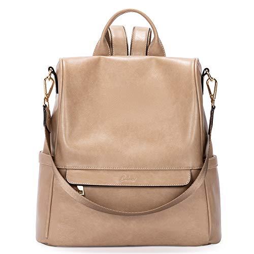 CLUCI Women Backpack Purse Fashion Oil Wax Leather Large Travel Bag Ladies Shoulder Bags Khaki