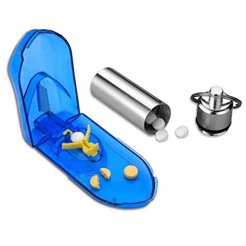 Cortador de Pastillas de Medicina para Pastillas pequeñas o Grandes con Caja de Pastillas.
