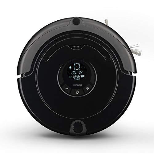 H.Koenig SWR22 Staubsaugerroboter / Roboterstaubsauger / Raumerkennung / 90 Minuten Akkulaufzeit / virtuelle Wand / Fernbedienung / schwarz