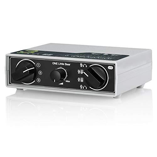Conmutador de audio portátil de 3 vías para auriculares y altavoces para micrófonos
