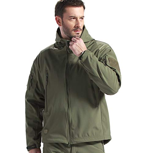 FREE SOLDIER Men's Fleece Lined Softshell Tactical Jacket Breathable Water Resistant Windproof Jacket Winter Snowboarding Skiing Hooded Jacket (Army Green XXXX-Large/US)