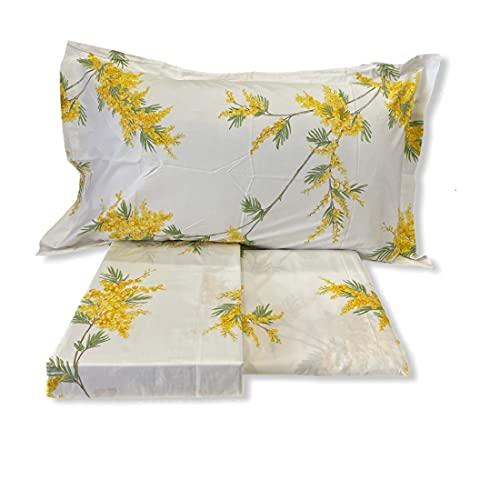 Mirabello Bettwäsche-Set für Doppelbett aus feiner Perkal-Baumwolle, Tagesdecke mit doppeltem Rüschen, Art. Mimosa Var, Gelb