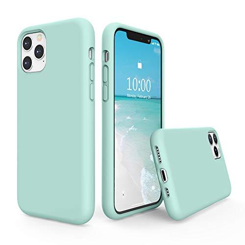 SURPHY Funda Silicona para iPhone 11 Pro, Carcasa con Superfino Pelusa Forro, Funda para Silicona Líquida Teléfono Anti-rañazos de 5.8 Pulgadas para iPhone 11 Pro, (Verde Menta)