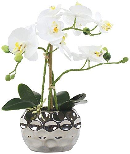 Decoline Künstliche Orchidee 33cm - Blüten weiß - Keramik Übertopf Silber