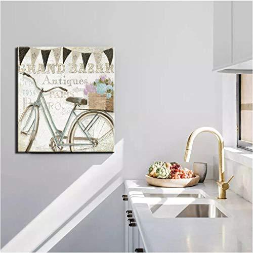 Wandkunst, abstract schilderij van Crand Bazar antiek fietsbord op canvas voor de woonkamer decoratie geschenk (50 x 50 cm zonder lijst)