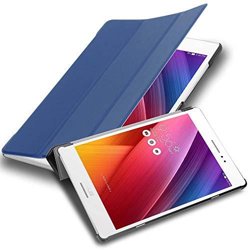 Cadorabo Tablet Hülle für Asus ZenPad S 8.0 (Z580CA / Z580C) in Jersey DUNKEL BLAU – Ultra Dünne Book Style Schutzhülle mit Auto Wake Up und Standfunktion aus Kunstleder