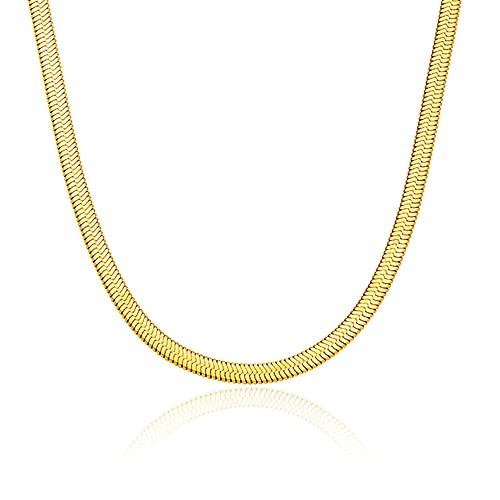 WILD SUN Kette Fischgräte Gold Damen  Choker Schlangenkette Flach ohne Anhänger für Frauen   Kurze Snake Schlange Goldkette aus 316 Edelstahl mit 18K vergoldet