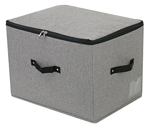 Cubo de almacenamiento plegable grande con tapa de tela con asas, tapa con cremallera, mantas de ropa, colchas, caja de almacenamiento para dormitorio, armario, 44x33x31cm, gris oscuro