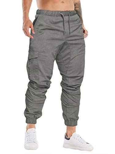 Cindeyar Herren Hosen Slim Fit Casual Jogger Sporthose Freizeithose Cargo Chino Jeans Hose (Grau 01,XL)