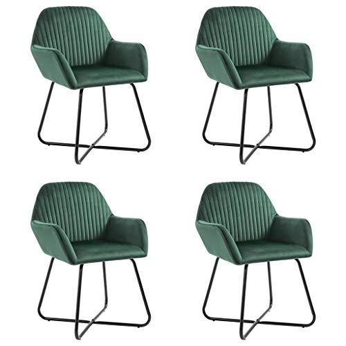 Festnight Eetkamerstoelen Eetkamerstoel enkele stoel fauteuil voor binnen buiten tuin kantoor restaurant 4 st fluweel groen