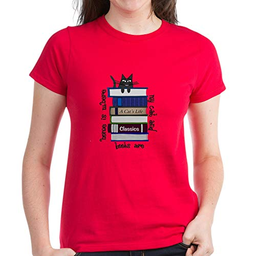 CafePress T-Shirt aus Baumwolle mit Aufschrift 'Home is Where Cat and Books are' Gr....