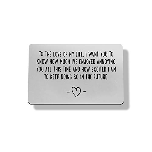 Engraved Wallet Card Inserts for Men,Husband Gift,Boyfriend Gift,Mini Love Note Inserts for Him To The Love Wallet Card Gift for Couple Birthday,Anniversary,Valentines Card Gift for Husband,Boyfriend