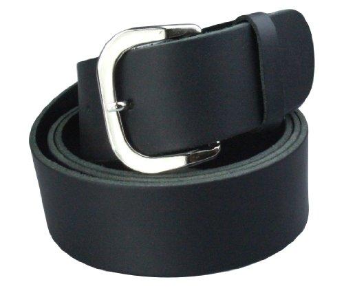 Alex Flittner Designs Echt Ledergürtel Herren in schwarz glatt ohne Muster 4cm breit | Bundweite 100cm = Gesamtlänge 115cm