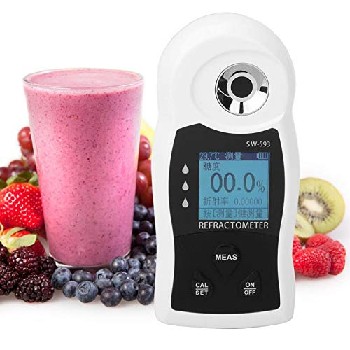 Jingyig Refractómetro, USB Sacarímetro Digital portátil Medidor de dulzura Refractómetro de azúcar Refractómetro de Laboratorio para Miel/Jarabe de Arce/melaza