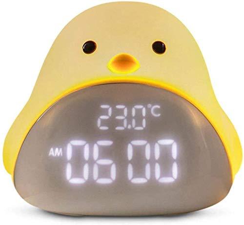 Reloj Despertador de Dibujos Animados Lindo Tiempo pájaro luz Nocturna Reloj Despertador Silicona táctil USB LED lámpara de Noche para niños bebé niños Regalo Beige