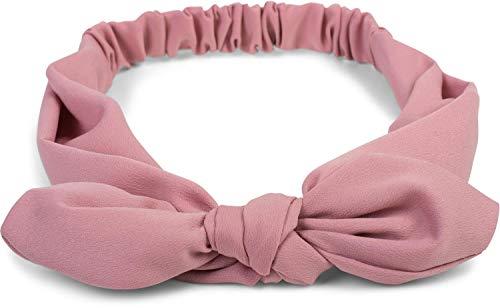 styleBREAKER Damen Haarband einfarbig mit Schleife und Gummizug, Stirnband, Headband, Pinup, Rockabilly, Haarschmuck 04026035, Farbe:Altrose