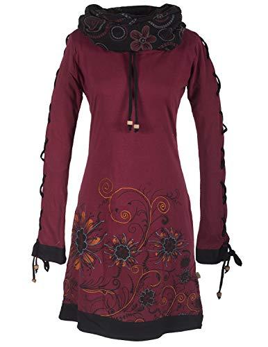 Vishes -Alternative Bekleidung - Bedrucktes Langarm Damen Blumen Kleid mit Schalkragen und Schnüren dunkelrot 40