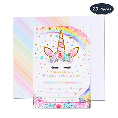 AMZTM Magische Einhorn Party-Zubehör Einladungen mit Umschlägen für die Kindergeburtstag Mädchen Baby Shower 20 Stück Einladungskarte