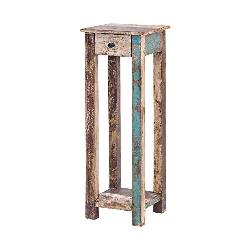 MÖBEL IDEAL Telefontisch Vintage Holz Bunt 30 x 30 x 90 cm Kommode im Vintage Look Beistelltisch im Shabby Chic Stil