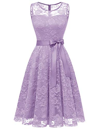 Dressystar 0009 Floral Lace Dress Short Bridesmaid Dresses with Sheer Neckline Lavender S