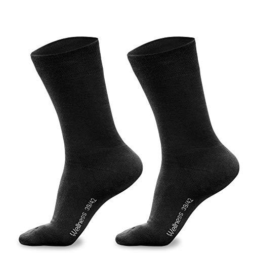 Piarini 3 Paar Herren-Socken Baumwolle Innenfrottee Sohle Bequeme Business-Socken atmungsaktive Edle Socken Männer Schwarz 43 44 45 46