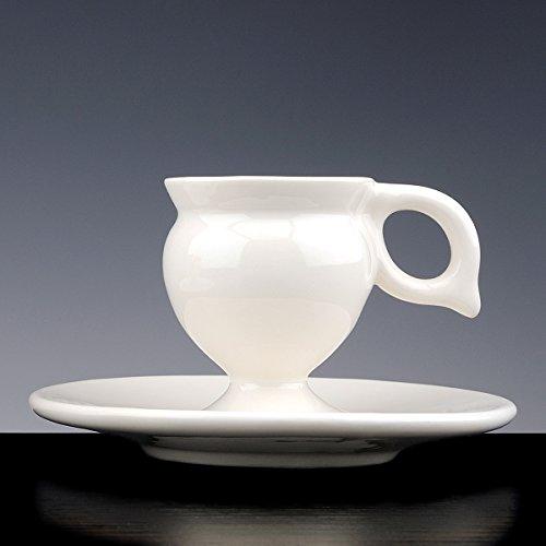 Mug LINGAM D'or à Café Porcelaine émaillée blanche ; Lot de 2 tasses avec PIATTO. fait à la main tasses design !