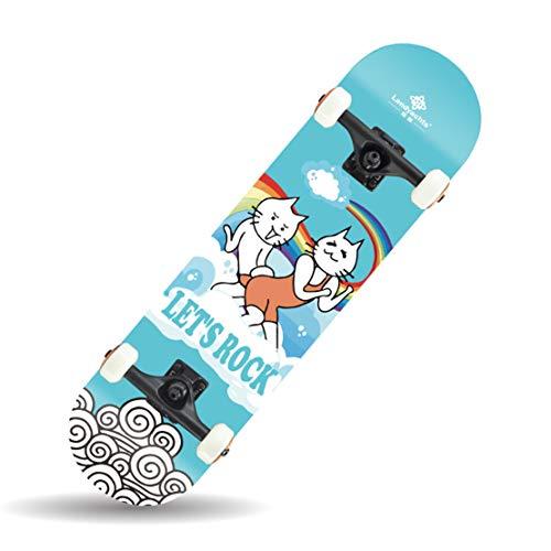HIOD Komplette Skateboard 31 * 8 Zoll Ahorn Deck ABEC-9 Chromstahl Lager für Anfänger Experte,C