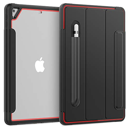 TianTa iPad 9.7 (2018 & 2017) / iPad Air 2 / iPad Pro 9.7 Case, Slim Leather Full Body Hard Back Shell Smart Cover with Built-in Screen Protector & Pencil Holder for iPad 9.7 inch- Black/Red