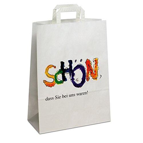 250 x Papiertragetaschen weiss, Motiv: Schön 26+10x33 cm | stabile Papiertüten | Papierbeutel Flachhenkel | Papiertaschen Mittel | Paper Bag | HUTNER