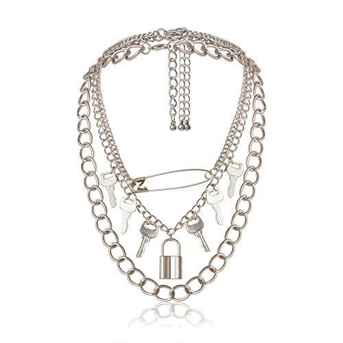 Collar gótico Punk Trendy Cool Multi Key Lock Pin Collares Pendientes Estilo Punk Joyería de Moda Collar de Pareja Gótico