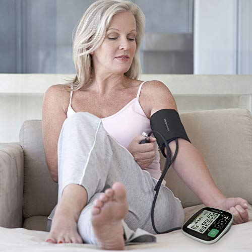 Medisana BU 546 tensiomètre à bras avec grand brassard, affichage de l'arythmie, Bluetooth, une mesure précise de la pression sanguine et du pouls avec fonction de mémoire avec App
