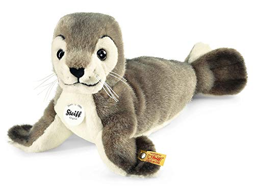 Steiff 063114 - Robby Seehund, Plüschtier, 30 cm, grau/weiß