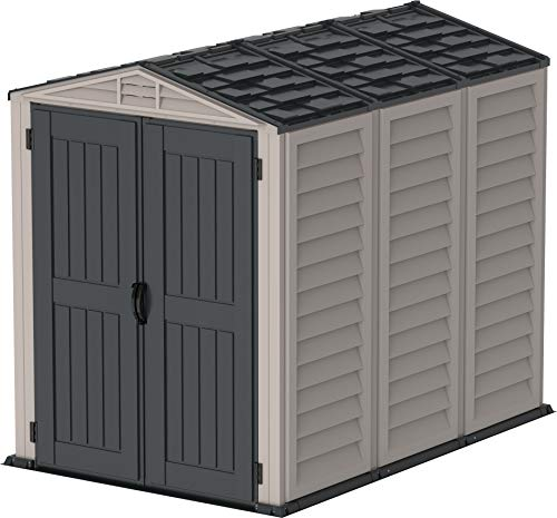 Duramax YardMate 5' x 8' PLUS Plastic Garden Shed with Plastic Floor - Anthracite & Adobe - 15 Years Warranty