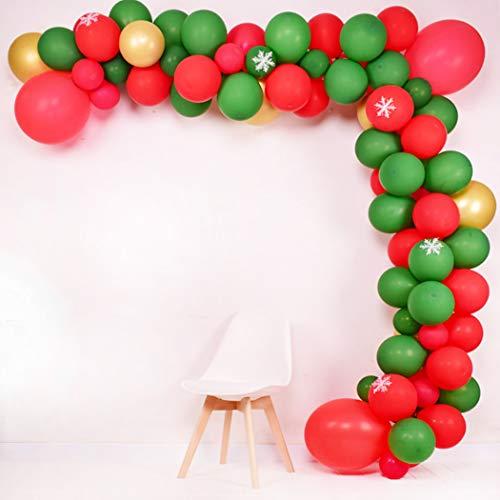 Kerstballon Arch Garland Kit, Inclusief Groene Rode Parelmoer Ballon Rood Groen Confetti Ballonnen Goud Metallic Ballonnen, Sneeuwvlok, voor Kerstmis Party Nieuwjaar Feest Verjaardag Decoratie benodigdheden