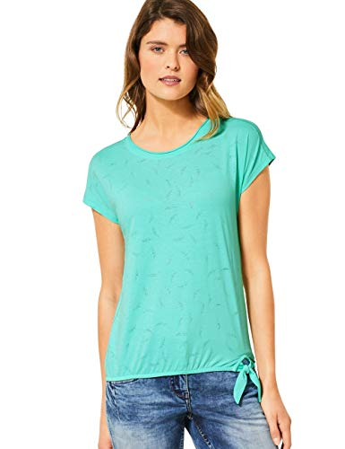 Cecil Damen 314983 TOS Solid Leaf Burn Out Shape T-Shirt, Light Molecule Mint Green, Medium