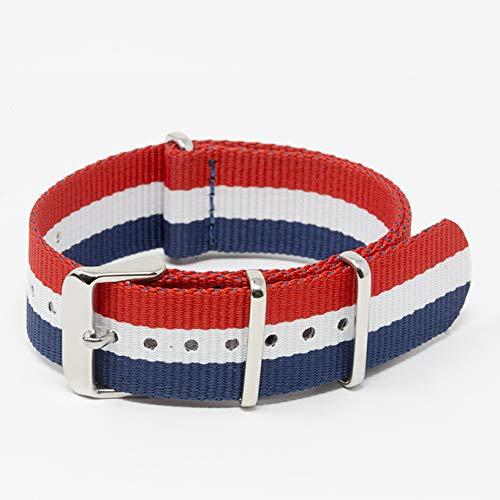 Premium Heavy NATO Ballistic Nylon Military Watch Strap Band (Red White/Blue, 22 mm)