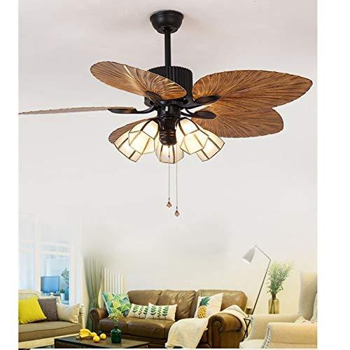 Deckenventilator mit Beleuchtung und Fernbedienung 52 Inch Industrial Fan und Zugschalter Deckenleuchte Vintage Retro Deckenventilator Kronleuchter Antik Fan Moderne Deckenlampe