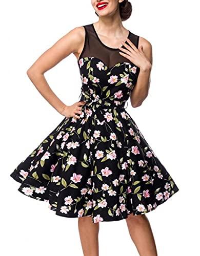 Belsira Retro Vintage Kleid mit Netzeinsatz M