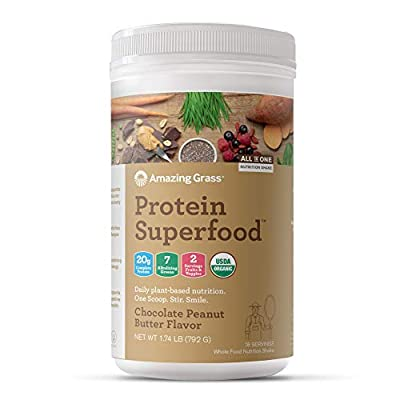 Amazing Grass Protein Superfood: Vegan Protein Powder, All-in-One Nutrition Shake, with Beet Root Powder, Chocolate Peanut Butter, 18 Servings