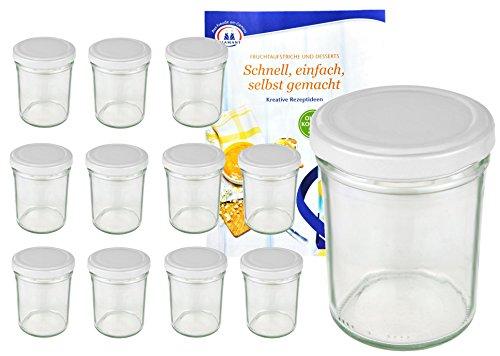 MamboCat 12er Set Sturzgläser 230 ml Hoch Deckelfarbe weiß to 66 inkl. Diamant Gelierzauber Rezeptheft, Marmeladengläser, Einmachgläser, Einweckgläser, Gläser