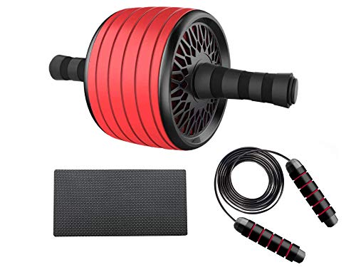 Ab Roller Wheel Kit with Adult Jump Rope and Knee Mat-Abs Workout Exercise Equipment Home Gym – Heavy-Duty Wide Ab Wheel Roller Set with Skipping Rope and Knee Pad-Abdominal Wheel Exercise Roller(Red)