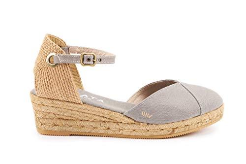 Viscata Pubol, Espadrillas classiche con cinturino alla caviglia e punta chiusa, con zeppa da 5 cm, Made in Spain grigio Size: 41 EU M