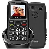 Artfone Teléfono Móvil para Personas Mayores Teclas Grandes con Pantalla de 1.77 Pulgadas Tecla de Emergencia Botón SOS Fácil de Usar para Ancianos, Artfone C1+ Senior-Negro