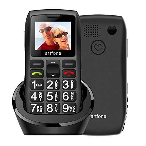 Artfone Senior Series Móvil para Personas Mayores con Teclas Grandes,con Doble SIM y SOS Botón, Batería de 1400 mAh, Base de Carga, 2G 🔥