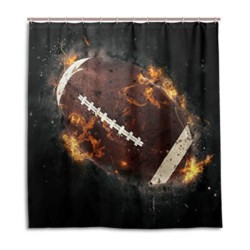 CPYang Duschvorhänge Sport America Football Fire Wasserdicht Schimmelresistent Bad Vorhang Badezimmer Home Decor 168 x 182 cm mit 12 Haken