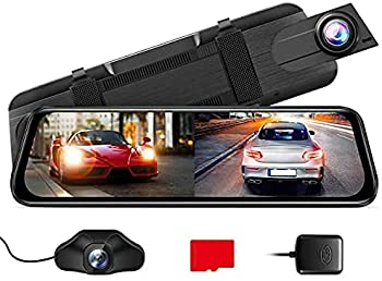 AZDOME PG02S 2.5K Mirror Dash Cam Voice Control 10  Split-Screen Display Rear View Mirror Camera Night Vision 170° FOV Dual Backup Camera with Sony Sensor Loop Recording Parking Mode 32GB Card