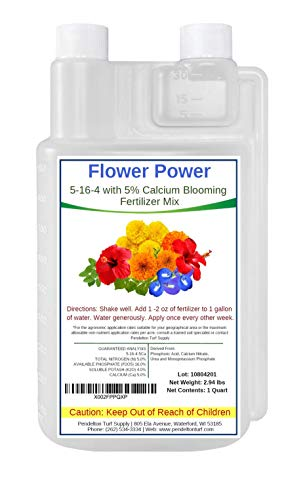 Flower Power 5-16-4 with 5% Added Calcium   All Natural Liquid Blooming Fertilizer Concentrate   Indoor and Outdoor Use   NPK Food for Flowers, Plants, Gardens, Trees, Grasses, Shrubs & More (32 oz)