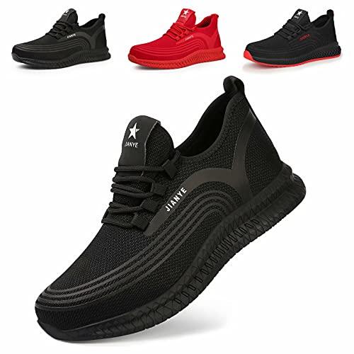 Zapatos de Seguridad Hombre Ligeros Calzado de Trabajo Mujer Punta de Acero Zapatillas Seguridad Transpirables Comodo Negro 42
