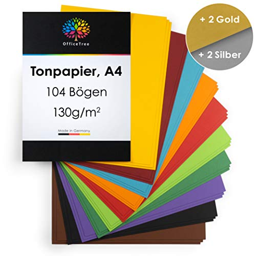 OfficeTree gekleurd papier A4-10 kleuren met goud- en zilvervellen - gekleurd knutselpapier 104 vellen 130 g/m2 - kartonnen doos om te knutselen en vormgeven